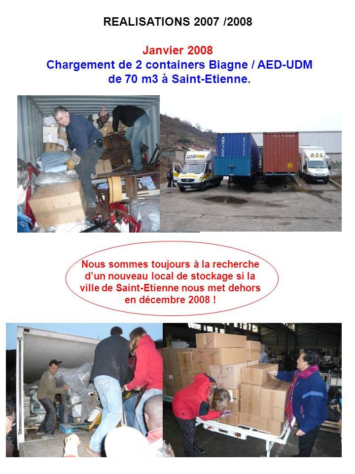 REALISATIONS 2007 /2008 Janvier 2008 Chargement de 2 containers Biagne / AED-UDM de 70 m3 à Saint-Etienne. Nous sommes toujours à la recherche dun nou