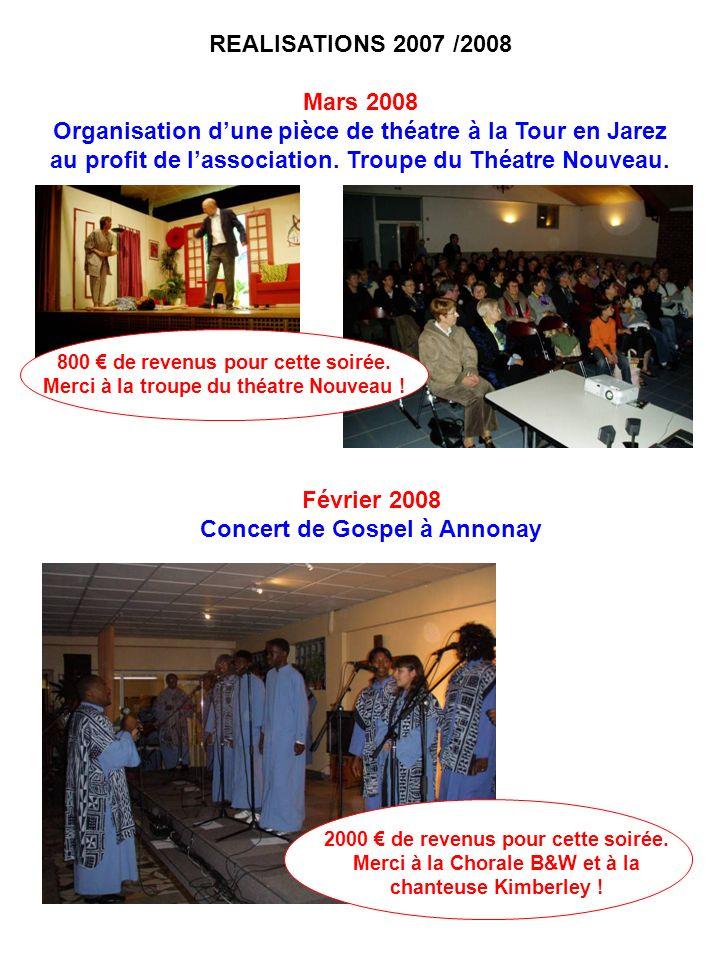 REALISATIONS 2007 /2008 Mars 2008 Organisation dune pièce de théatre à la Tour en Jarez au profit de lassociation. Troupe du Théatre Nouveau. Février