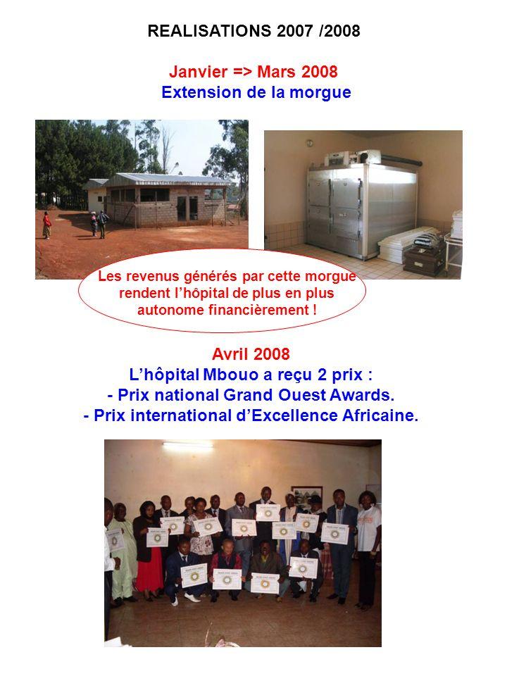 REALISATIONS 2007 /2008 Janvier => Mars 2008 Extension de la morgue Les revenus générés par cette morgue rendent lhôpital de plus en plus autonome fin