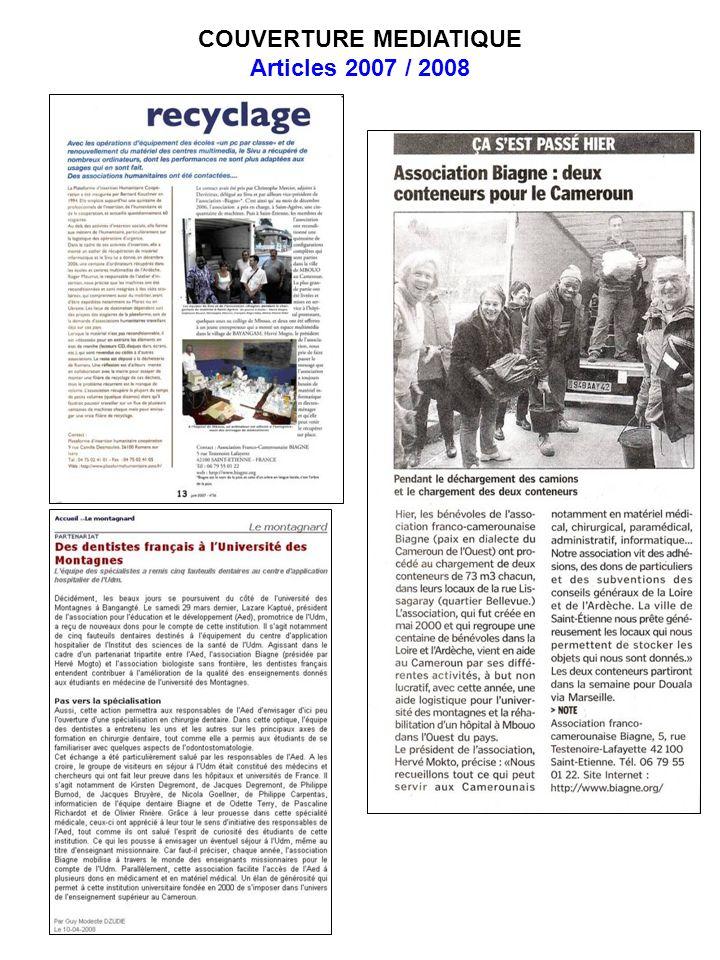 COUVERTURE MEDIATIQUE Articles 2007 / 2008