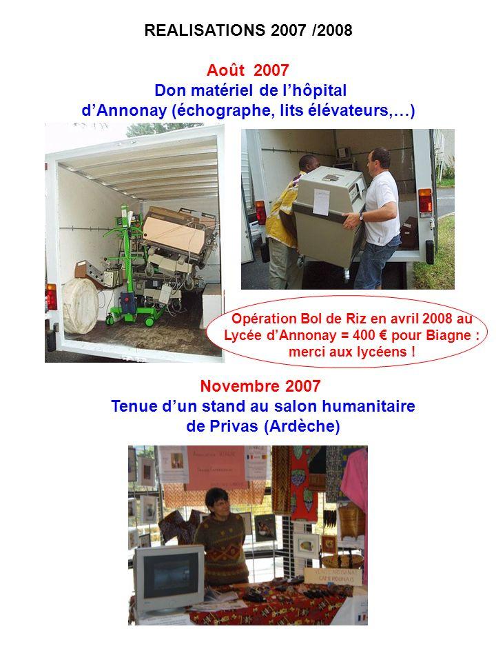 REALISATIONS 2007 /2008 Août 2007 Don matériel de lhôpital dAnnonay (échographe, lits élévateurs,…) Novembre 2007 Tenue dun stand au salon humanitaire