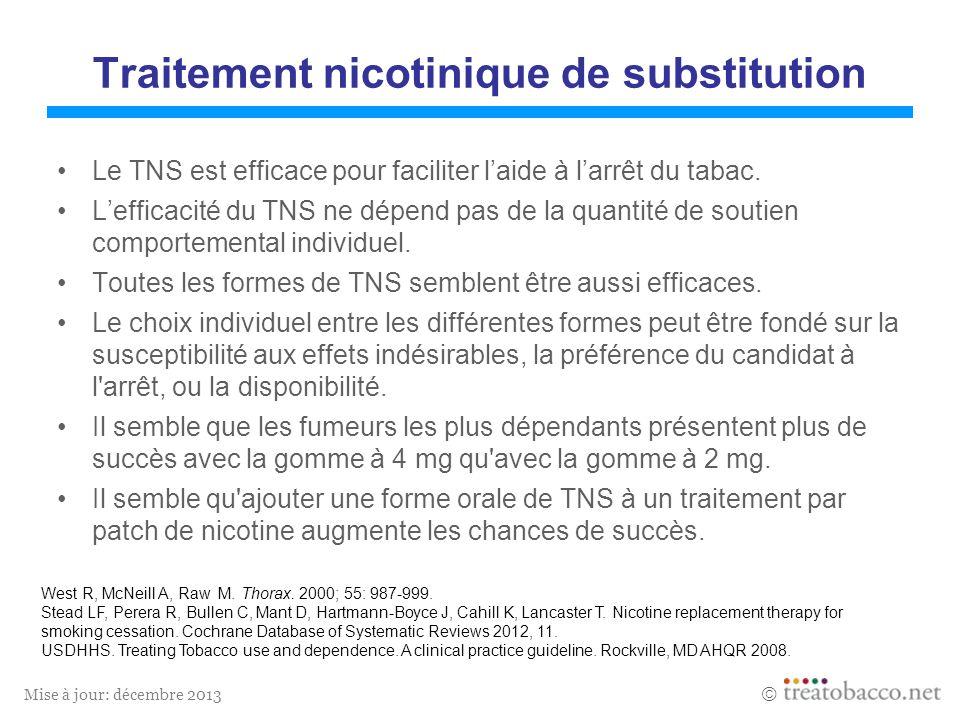 Mise à jour: décembre 2013 Traitement nicotinique de substitution Le TNS est efficace pour faciliter laide à larrêt du tabac.