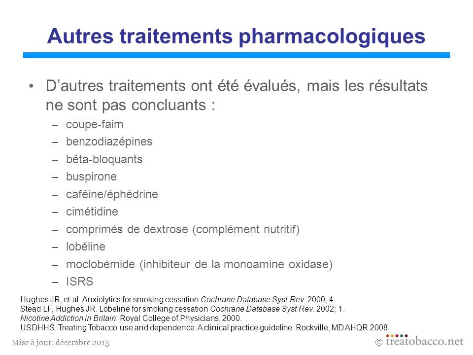 Mise à jour: décembre 2013 Autres traitements pharmacologiques Dautres traitements ont été évalués, mais les résultats ne sont pas concluants : –coupe-faim –benzodiazépines –bêta-bloquants –buspirone –caféine/éphédrine –cimétidine –comprimés de dextrose (complément nutritif) –lobéline –moclobémide (inhibiteur de la monoamine oxidase) –ISRS Hughes JR, et al.