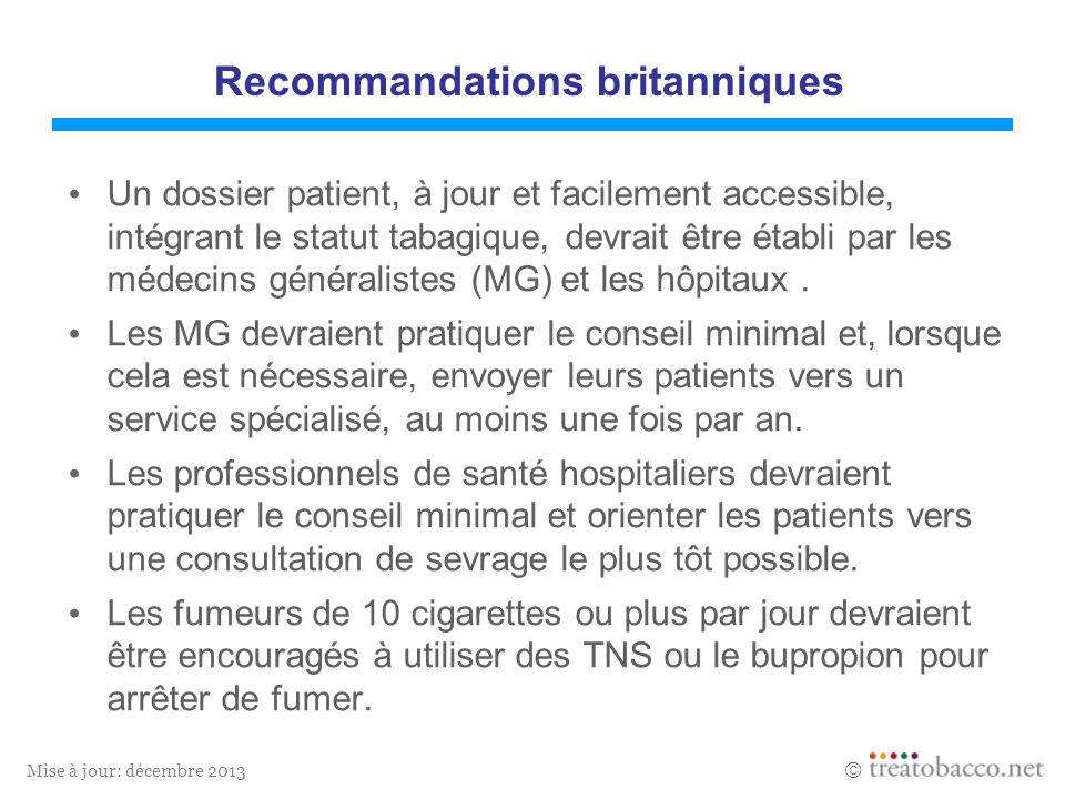 Mise à jour: décembre 2013 Recommandations britanniques Un dossier patient, à jour et facilement accessible, intégrant le statut tabagique, devrait être établi par les médecins généralistes (MG) et les hôpitaux.