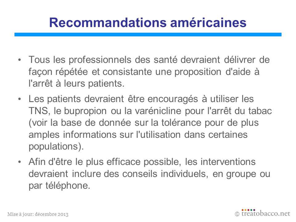 Mise à jour: décembre 2013 Recommandations américaines Tous les professionnels des santé devraient délivrer de façon répétée et consistante une proposition d aide à l arrêt à leurs patients.