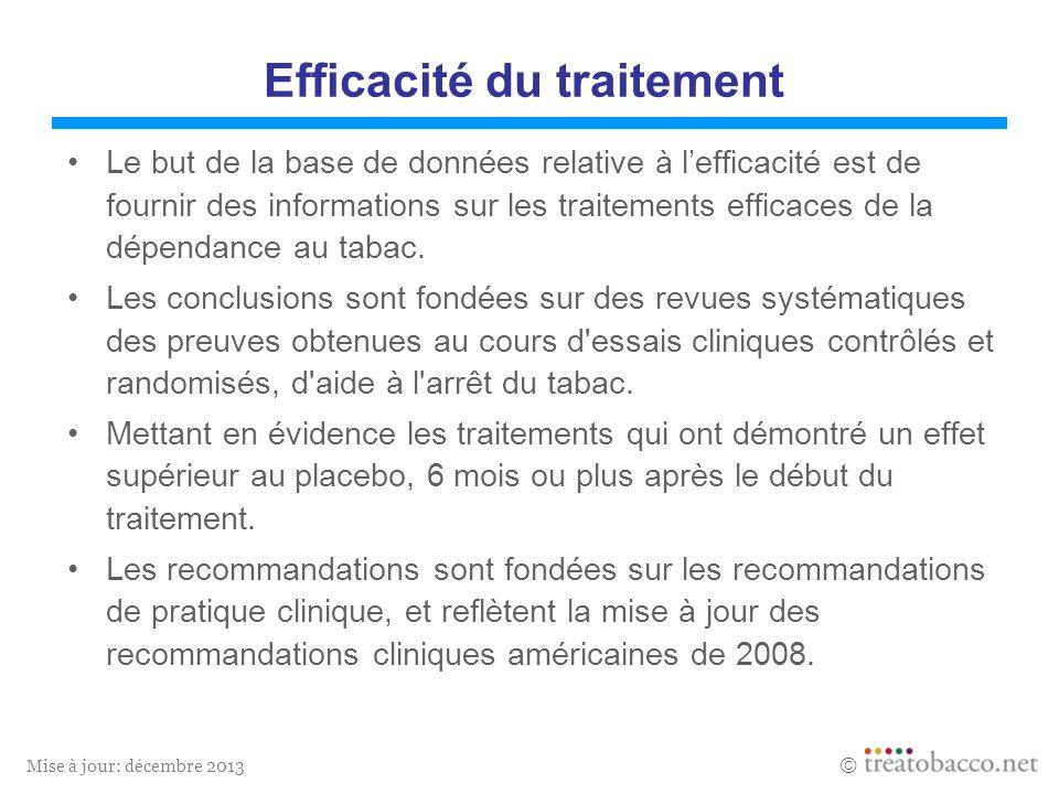 Mise à jour: décembre 2013 Efficacité du traitement Le but de la base de données relative à lefficacité est de fournir des informations sur les traitements efficaces de la dépendance au tabac.