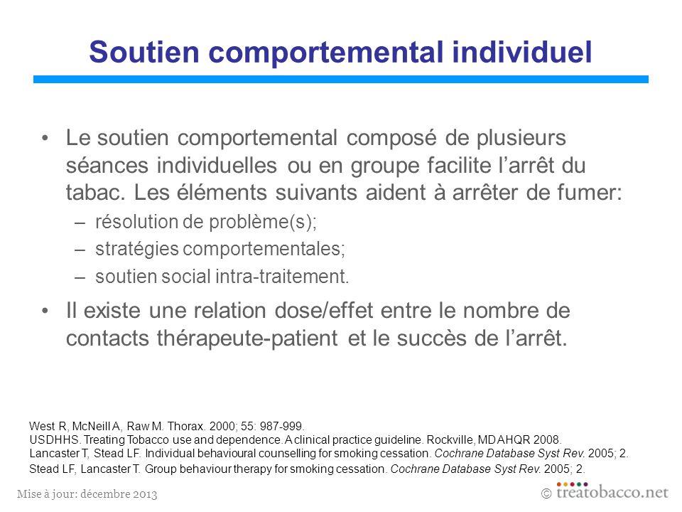 Mise à jour: décembre 2013 Soutien comportemental individuel Le soutien comportemental composé de plusieurs séances individuelles ou en groupe facilite larrêt du tabac.