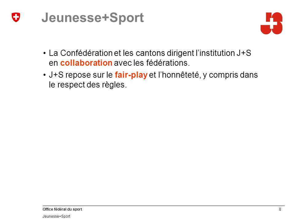 9 Office fédéral du sport Jeunesse+Sport Conception J+S Régularité Qualité Durabilité Subsidiarité