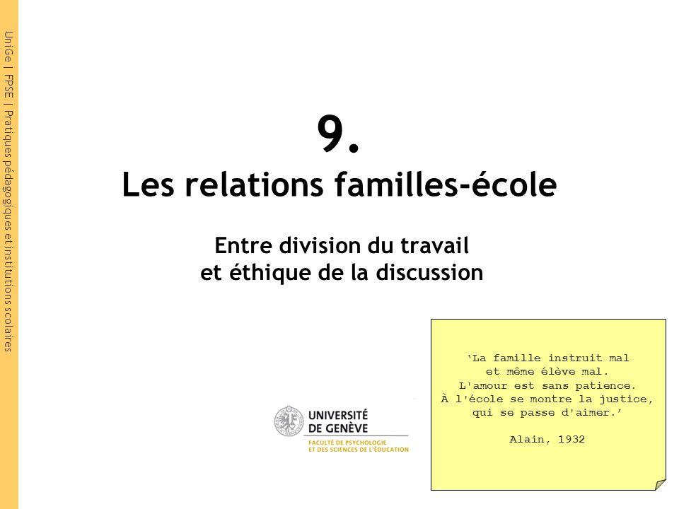 UniGe | FPSE | Pratiques pédagogiques et institutions scolaires 9. Les relations familles-école Entre division du travail et éthique de la discussion