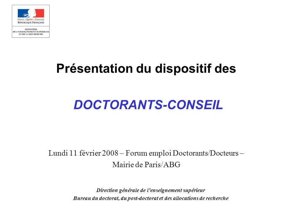 Présentation du dispositif des DOCTORANTS-CONSEIL Lundi 11 février 2008 – Forum emploi Doctorants/Docteurs – Mairie de Paris/ABG Direction générale de