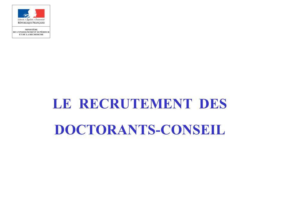 LE RECRUTEMENT DES DOCTORANTS-CONSEIL