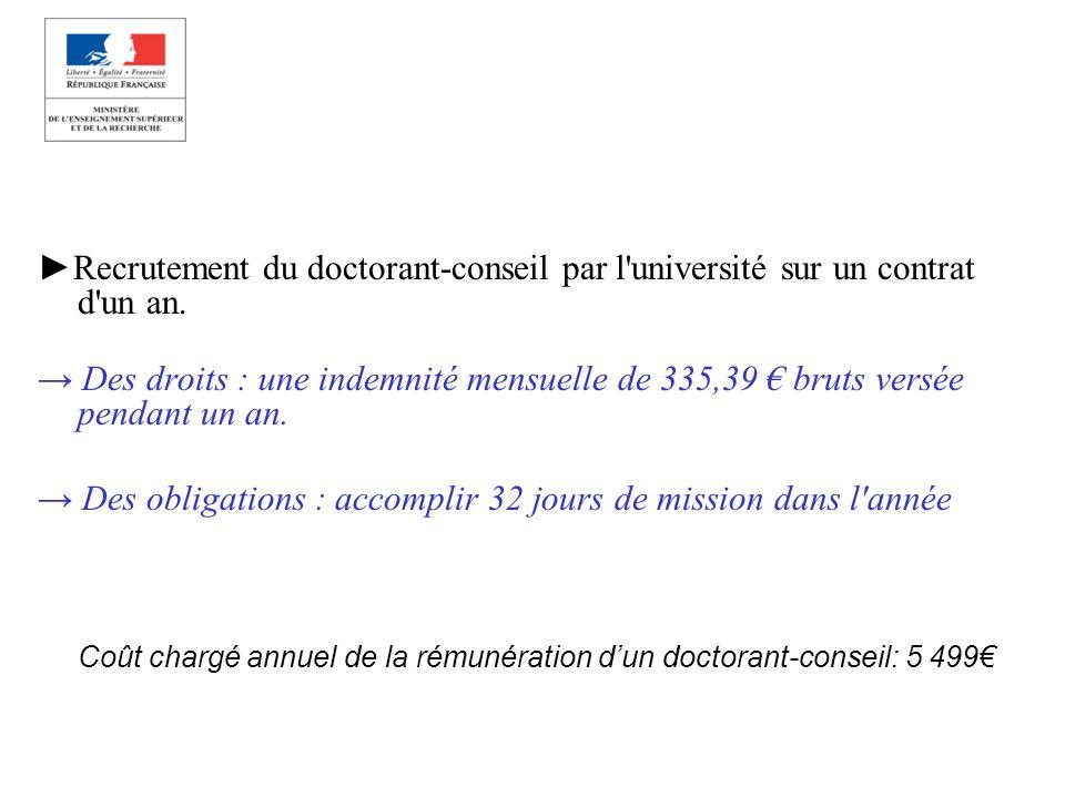 Recrutement du doctorant-conseil par l'université sur un contrat d'un an. Des droits : une indemnité mensuelle de 335,39 bruts versée pendant un an. D