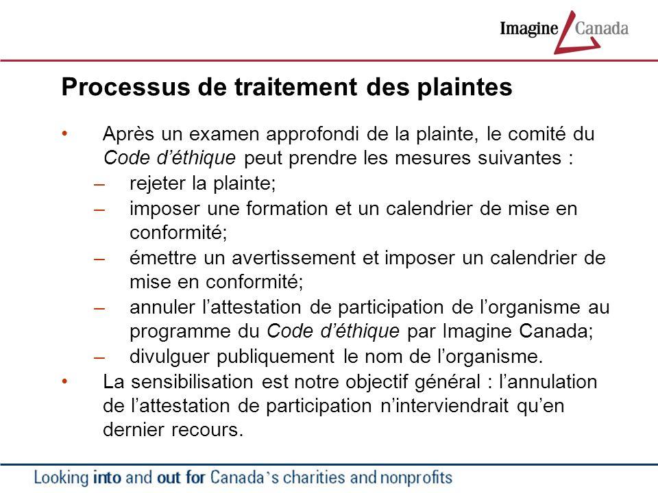 Processus de traitement des plaintes Après un examen approfondi de la plainte, le comité du Code déthique peut prendre les mesures suivantes : –rejete