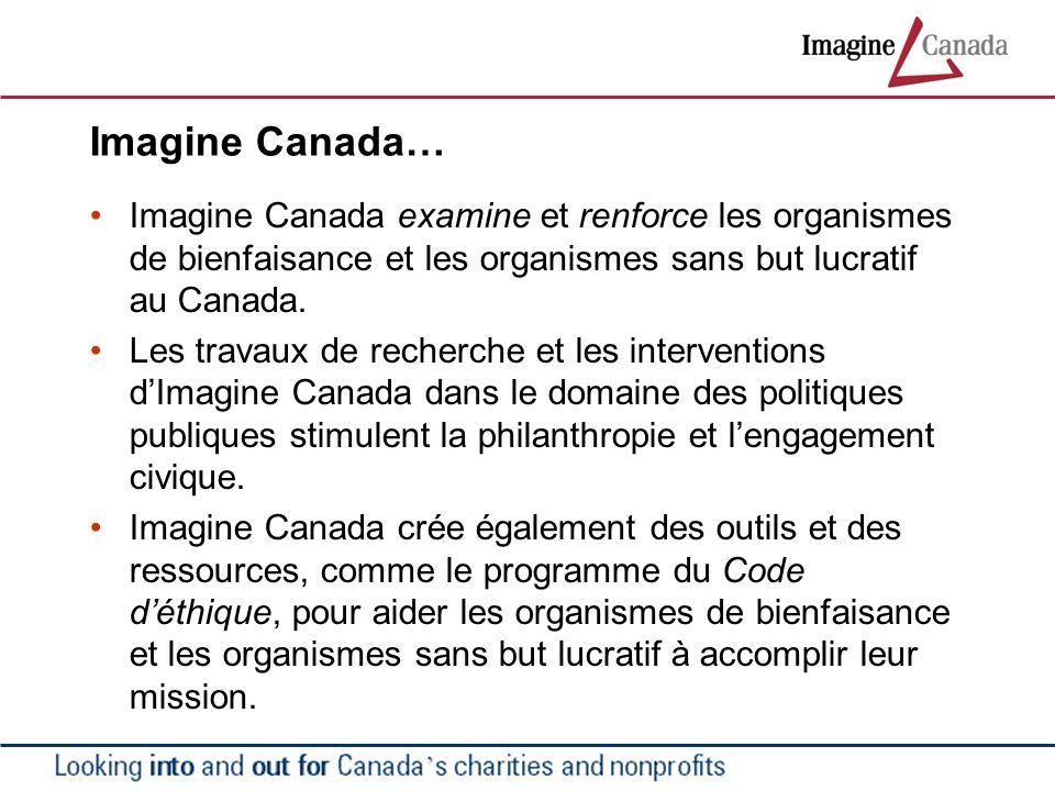 Imagine Canada… Imagine Canada examine et renforce les organismes de bienfaisance et les organismes sans but lucratif au Canada. Les travaux de recher