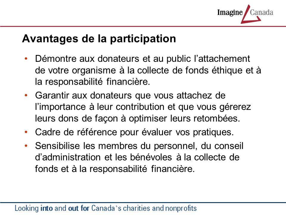 Avantages de la participation Démontre aux donateurs et au public lattachement de votre organisme à la collecte de fonds éthique et à la responsabilit