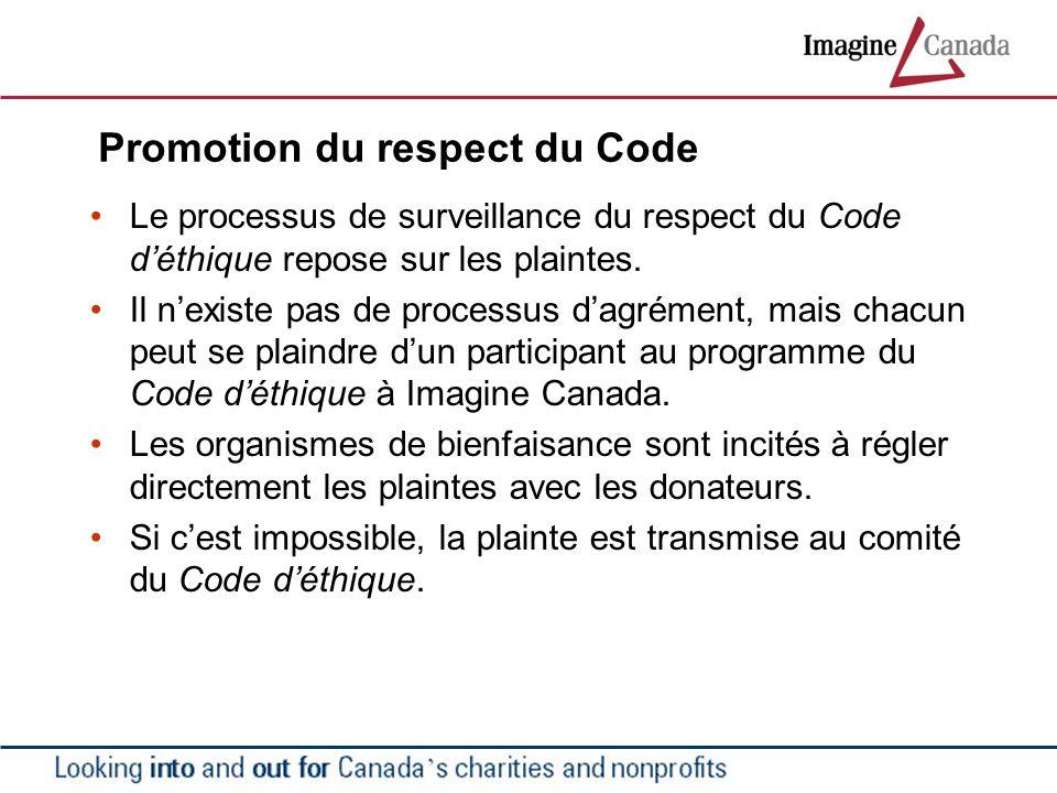 Promotion du respect du Code Le processus de surveillance du respect du Code déthique repose sur les plaintes. Il nexiste pas de processus dagrément,