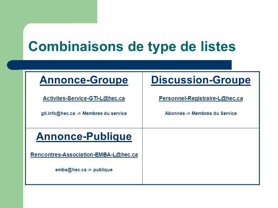 Combinaisons de type de listes Annonce-Groupe Activites-Service-GTI-L@hec.ca gti.info@hec.ca -> Membres du service Discussion-Groupe Personnel-Registraire-L@hec.ca-Registraire-L@hec.ca Abonnés -> Membres du Service Annonce-Publique Rencontres-Association-EMBA-L@hec.ca emba@hec.ca -> publique