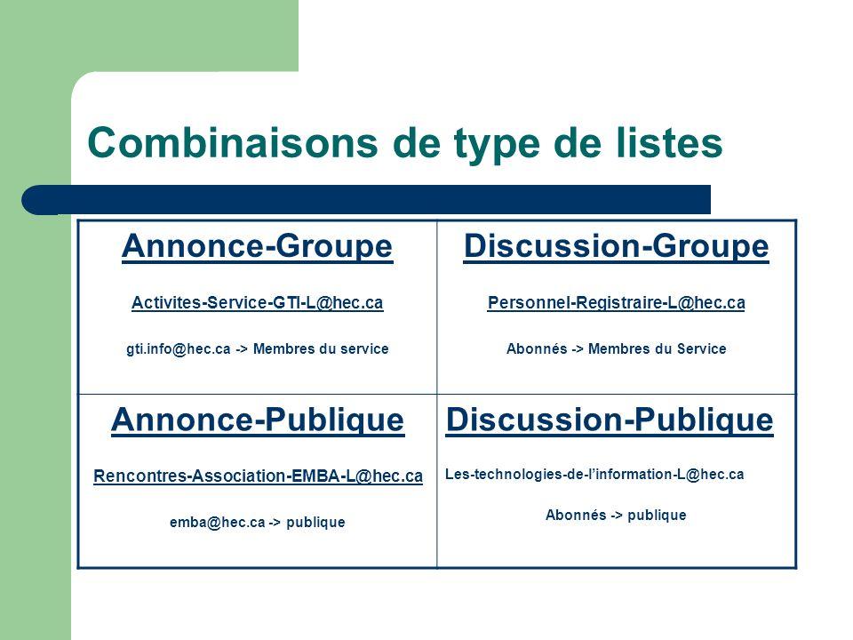 Combinaisons de type de listes Annonce-Groupe Activites-Service-GTI-L@hec.ca gti.info@hec.ca -> Membres du service Discussion-Groupe Personnel-Registraire-L@hec.ca-Registraire-L@hec.ca Abonnés -> Membres du Service Annonce-Publique Rencontres-Association-EMBA-L@hec.ca emba@hec.ca -> publique Discussion-Publique Les-technologies-de-linformation-L@hec.ca Abonnés -> publique