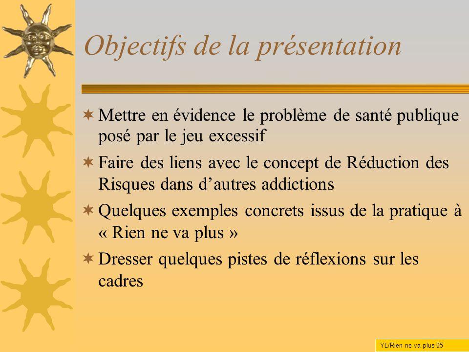 Objectifs de la présentation Mettre en évidence le problème de santé publique posé par le jeu excessif Faire des liens avec le concept de Réduction de