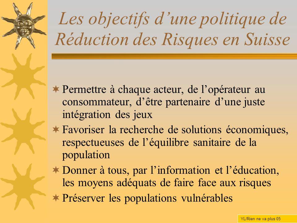 Les objectifs dune politique de Réduction des Risques en Suisse Permettre à chaque acteur, de lopérateur au consommateur, dêtre partenaire dune juste