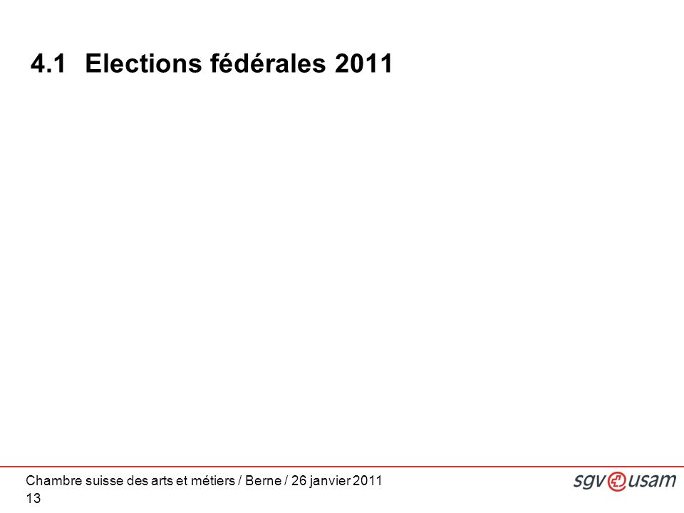 Chambre suisse des arts et métiers / Berne / 26 janvier 2011 13 4.1 Elections fédérales 2011