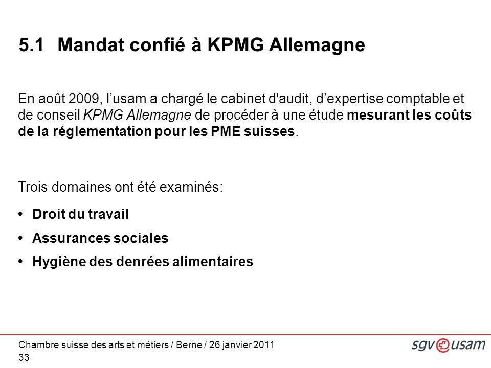 Chambre suisse des arts et métiers / Berne / 26 janvier 2011 33 5.1 Mandat confié à KPMG Allemagne En août 2009, lusam a chargé le cabinet d audit, dexpertise comptable et de conseil KPMG Allemagne de procéder à une étude mesurant les coûts de la réglementation pour les PME suisses.