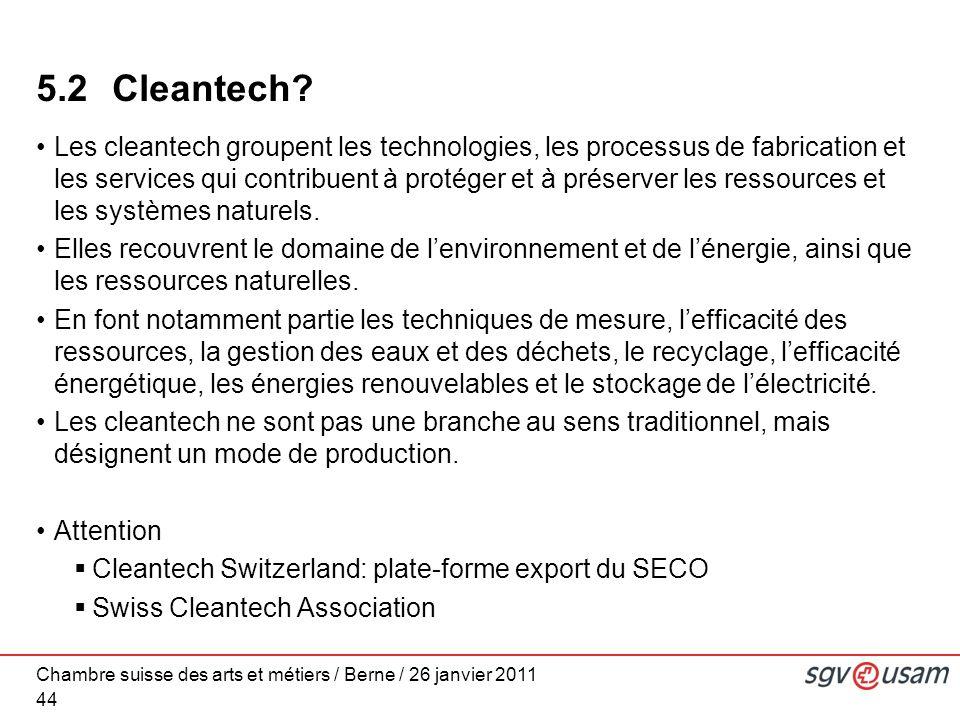 Chambre suisse des arts et métiers / Berne / 26 janvier 2011 44 5.2 Cleantech.