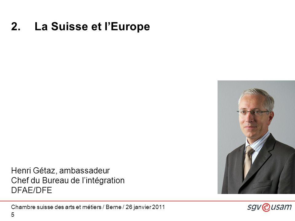 Chambre suisse des arts et métiers / Berne / 26 janvier 2011 5 2.