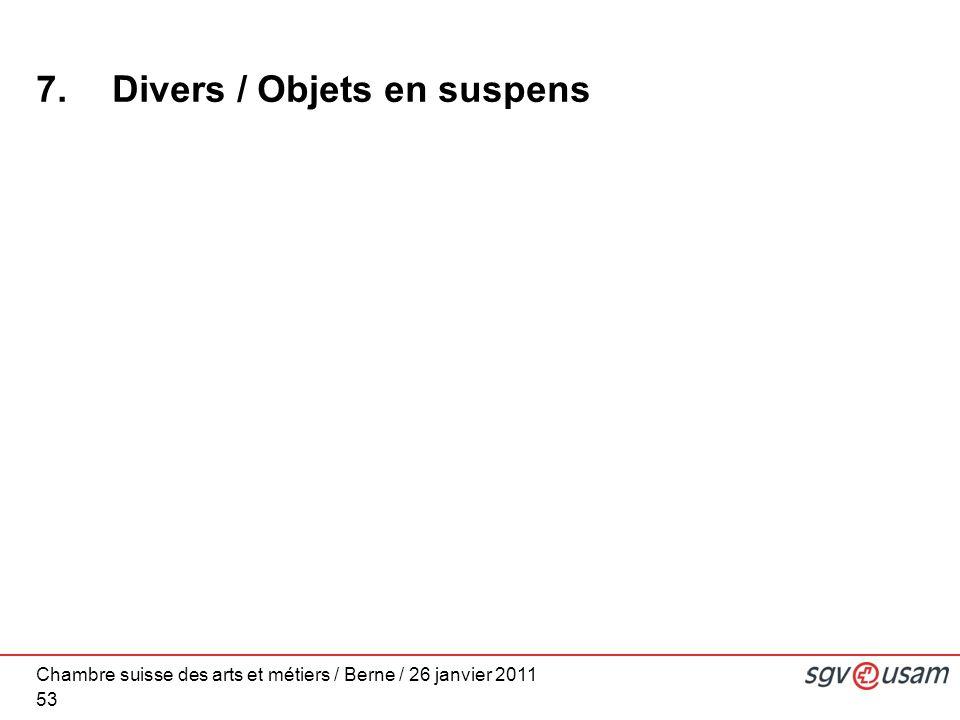 Chambre suisse des arts et métiers / Berne / 26 janvier 2011 53 7. Divers / Objets en suspens