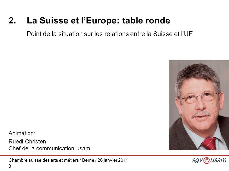 Chambre suisse des arts et métiers / Berne / 26 janvier 2011 8 2.