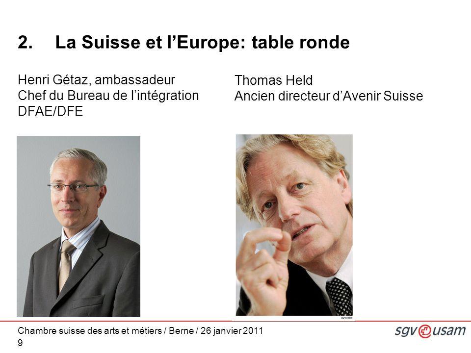 Chambre suisse des arts et métiers / Berne / 26 janvier 2011 9 2.