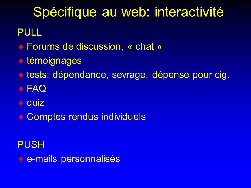 Spécifique au web: interactivité PULL Forums de discussion, « chat » témoignages tests: dépendance, sevrage, dépense pour cig.