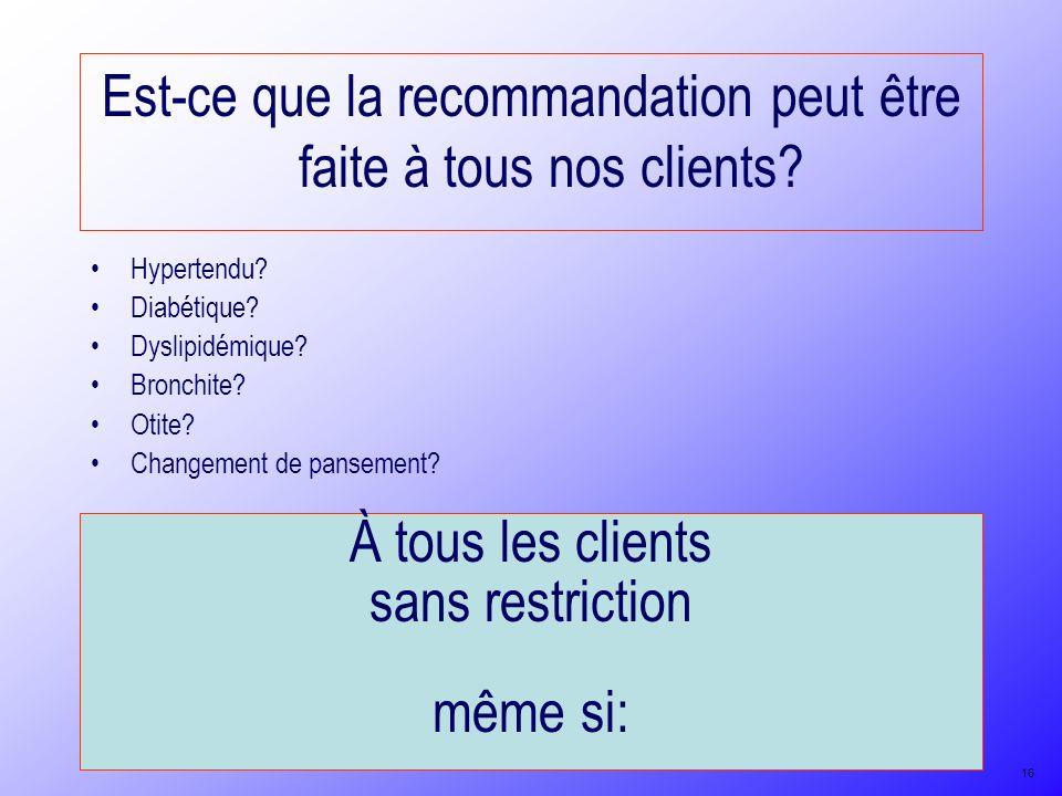 Est-ce que la recommandation peut être faite à tous nos clients? À tous les clients sans restriction même si: Hypertendu? Diabétique? Dyslipidémique?