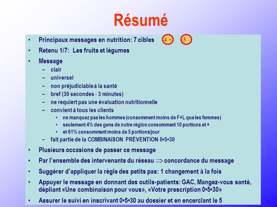 Résumé Principaux messages en nutrition: 7 cibles Retenu 1/7: Les fruits et légumes Message – clair – universel – non préjudiciable à la santé – bref
