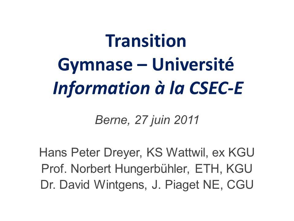 Plan de lexposé A) La maturité gymnasiale et son environnement B) Données concernant la transition Gymnase- Université C) La Conférence « Transition Gymnase – Université » D) Bilan