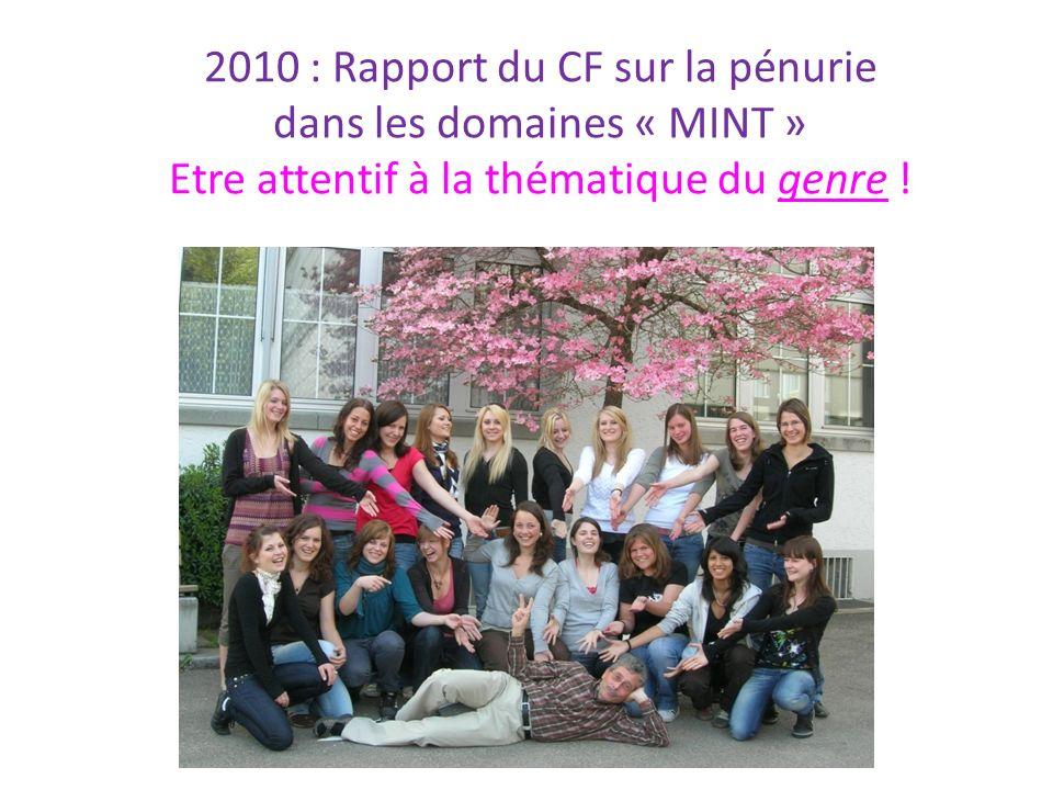 2010 : Rapport du CF sur la pénurie dans les domaines « MINT » Etre attentif à la thématique du genre !