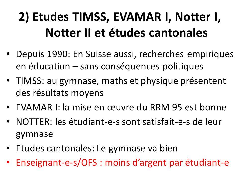 2) Etudes TIMSS, EVAMAR I, Notter I, Notter II et études cantonales Depuis 1990: En Suisse aussi, recherches empiriques en éducation – sans conséquences politiques TIMSS: au gymnase, maths et physique présentent des résultats moyens EVAMAR I: la mise en œuvre du RRM 95 est bonne NOTTER: les étudiant-e-s sont satisfait-e-s de leur gymnase Etudes cantonales: Le gymnase va bien Enseignant-e-s/OFS : moins dargent par étudiant-e