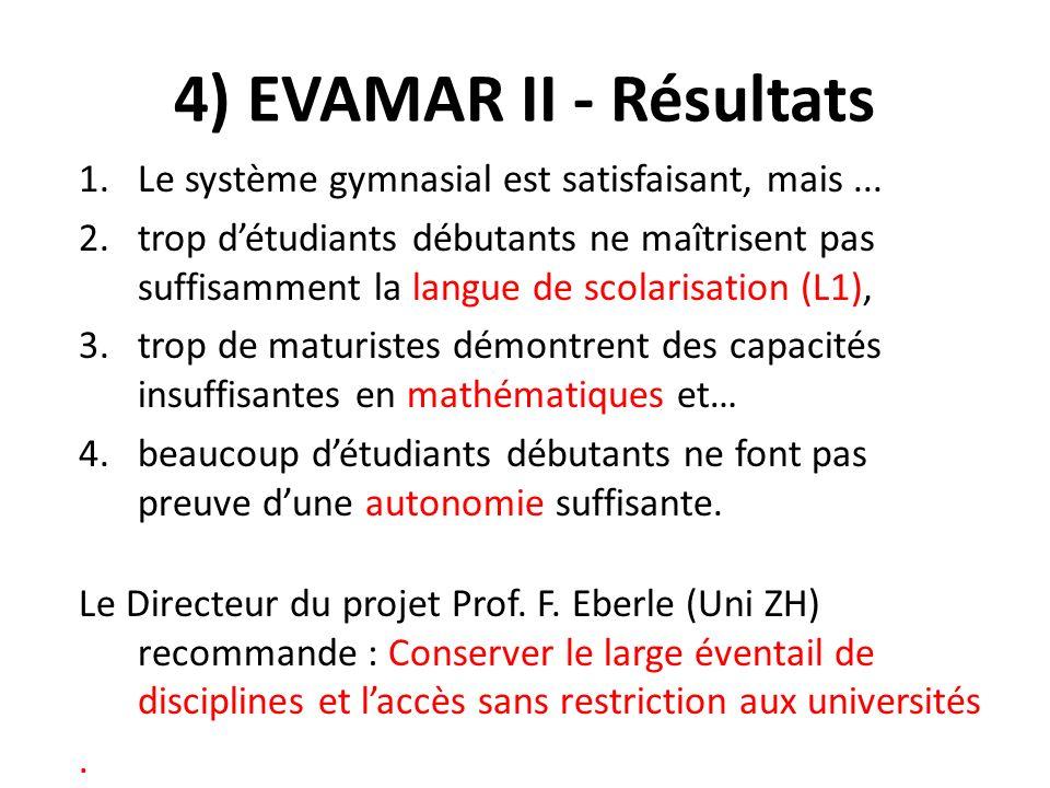 4) EVAMAR II - Résultats 1.Le système gymnasial est satisfaisant, mais...