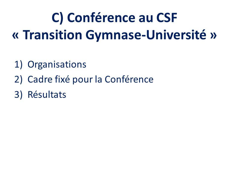 C) Conférence au CSF « Transition Gymnase-Université » 1)Organisations 2)Cadre fixé pour la Conférence 3)Résultats
