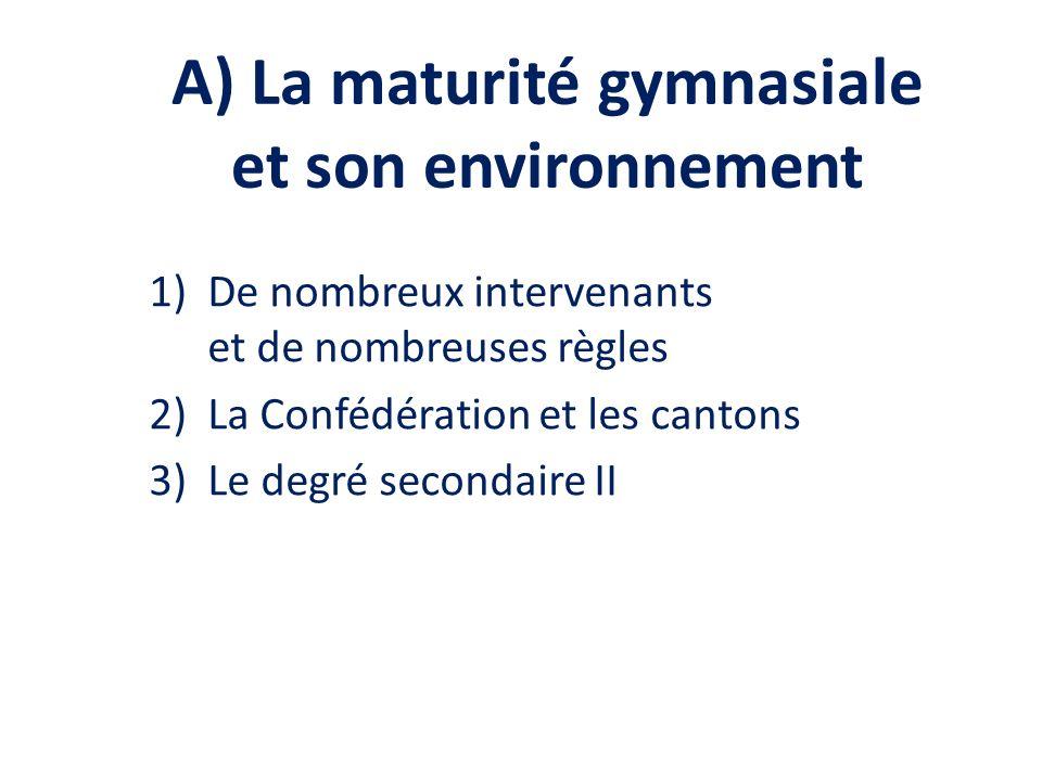 A) La maturité gymnasiale et son environnement 1)De nombreux intervenants et de nombreuses règles 2)La Confédération et les cantons 3)Le degré secondaire II