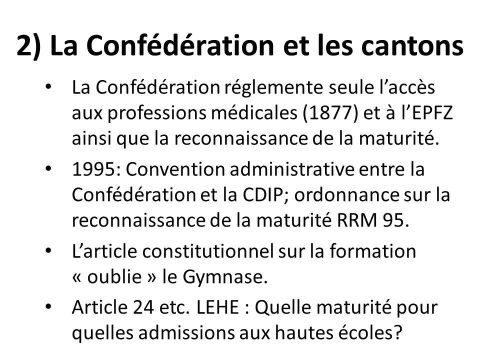 2) La Confédération et les cantons La Confédération réglemente seule laccès aux professions médicales (1877) et à lEPFZ ainsi que la reconnaissance de la maturité.