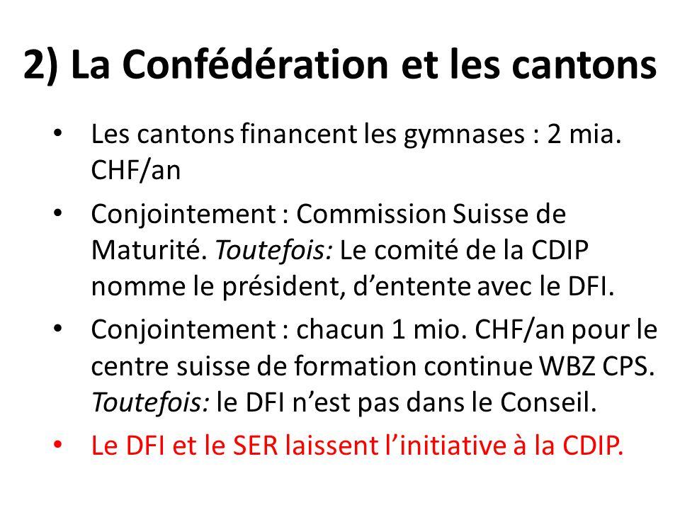 2) La Confédération et les cantons Les cantons financent les gymnases : 2 mia.