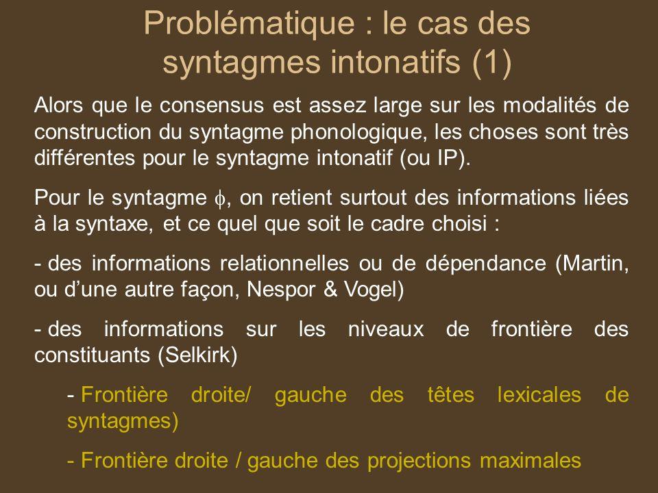Problématique : le cas des syntagmes intonatifs (1) Alors que le consensus est assez large sur les modalités de construction du syntagme phonologique, les choses sont très différentes pour le syntagme intonatif (ou IP).