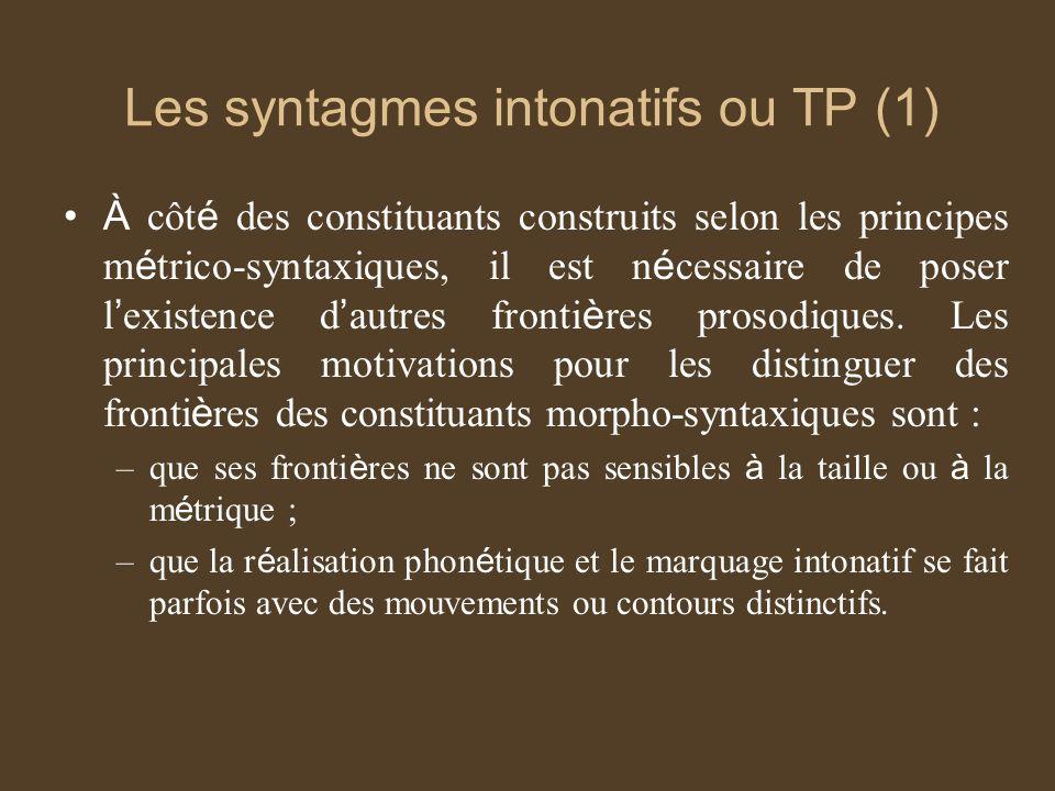 Les syntagmes intonatifs ou TP (1) À côt é des constituants construits selon les principes m é trico-syntaxiques, il est n é cessaire de poser l existence d autres fronti è res prosodiques.