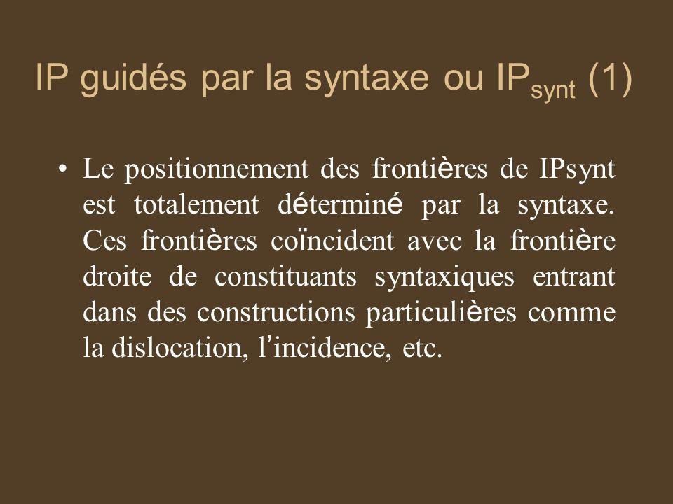 IP guidés par la syntaxe ou IP synt (1) Le positionnement des fronti è res de IPsynt est totalement d é termin é par la syntaxe.