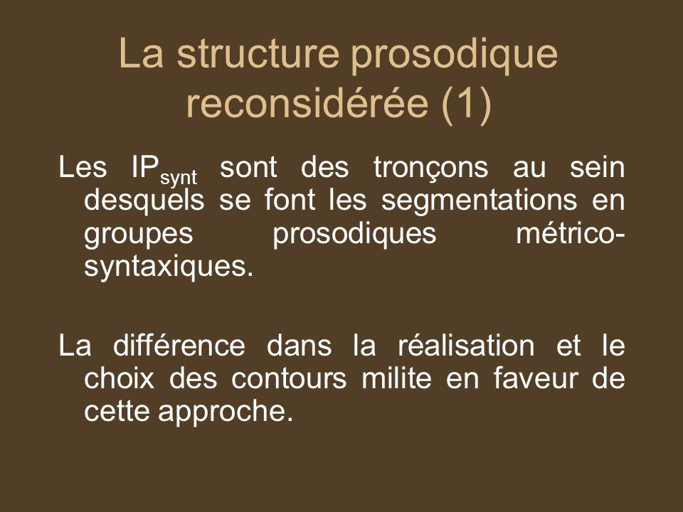 La structure prosodique reconsidérée (1) Les IP synt sont des tronçons au sein desquels se font les segmentations en groupes prosodiques métrico- syntaxiques.