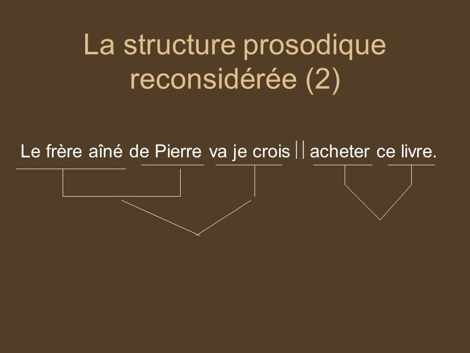 La structure prosodique reconsidérée (2) Le frère aîné de Pierre va je crois acheter ce livre.