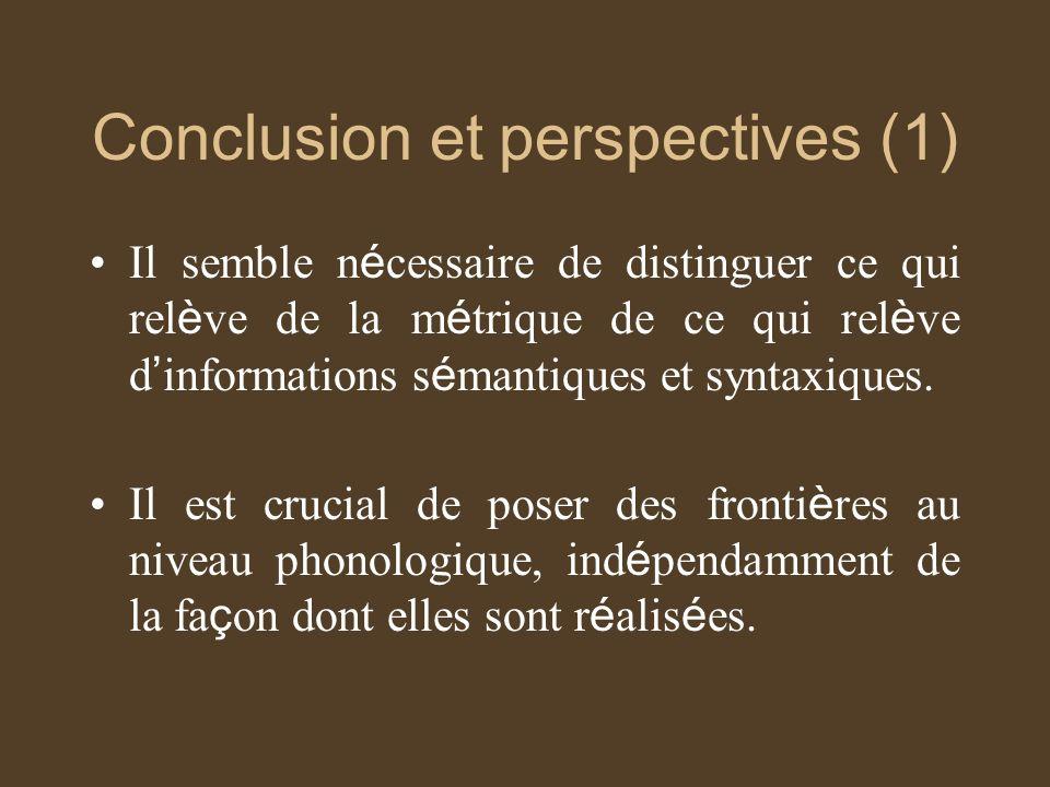 Conclusion et perspectives (1) Il semble n é cessaire de distinguer ce qui rel è ve de la m é trique de ce qui rel è ve d informations s é mantiques et syntaxiques.