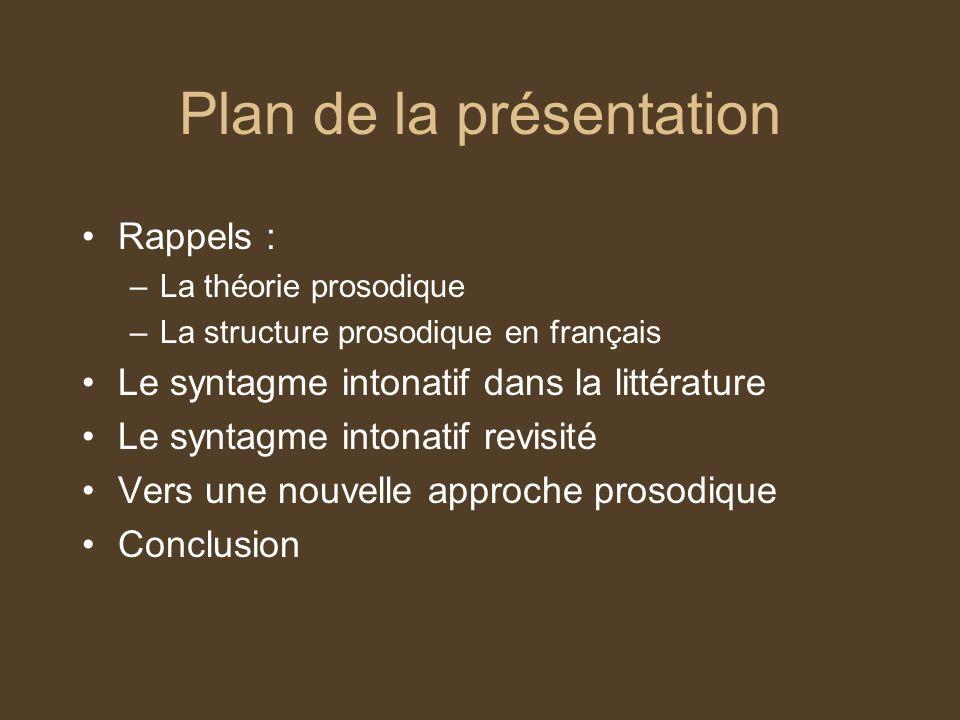 Rappel : la théorie prosodique (1) La représentation phonologique de lénoncé prend la forme dune hiérarchie structurée de domaines au sein desquels sont analysés les phénomènes phonologiques.