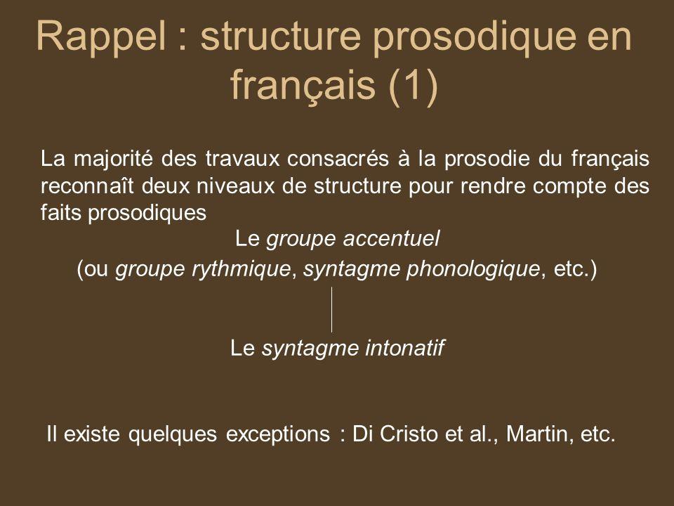 Rappel : structure prosodique en français (2) Di Cristo et al : Deux niveaux de structure sont retenus pour décrire lintonation Lunité tonal (UT) / pied mélodique de la forme LH Lunité intonative (UI) Tu as pris le chapeau de Jacques .